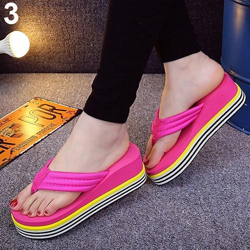 Sandalias de verano con cuña y tacón de tira para mujer, chanclas para la playa, zapatillas con puntera, zapatos de plataforma antideslizantes para verano, 2020