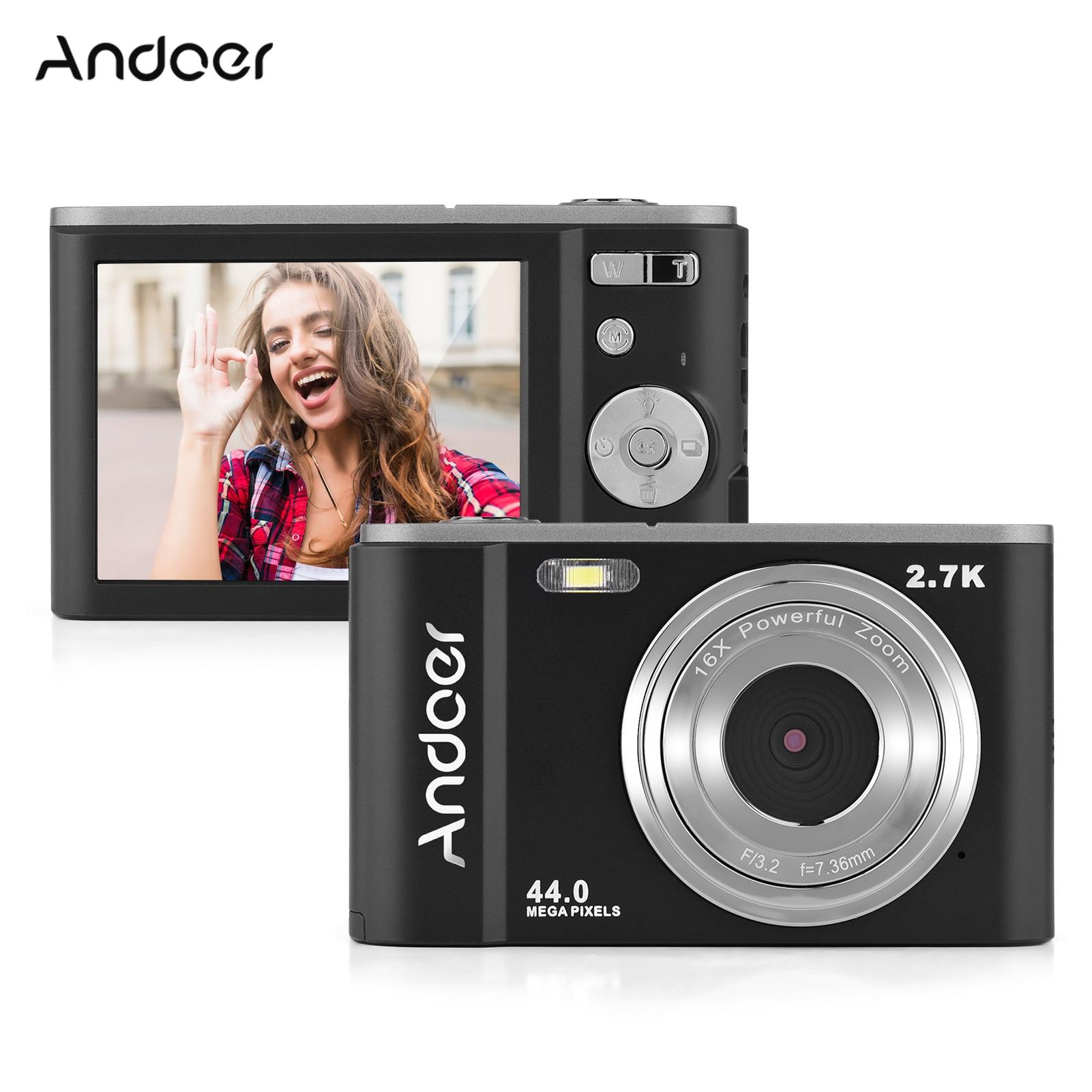 Andoer-كاميرا رقمية صغيرة 44 ميجابكسل ، 2.7K ، 2.88 بوصة ، شاشة IPS ، تقريب 16X ، كشف الوجه ، 2 قطعة ، بطارية مدمجة ، حزام يدوي ، حقيبة حمل
