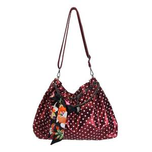 Angel Kiss Lightweight Women Shimmery Handbag Lady Shoulder BagsPurse with Scarf Decoration Chain Handles and Fabric Long Strap