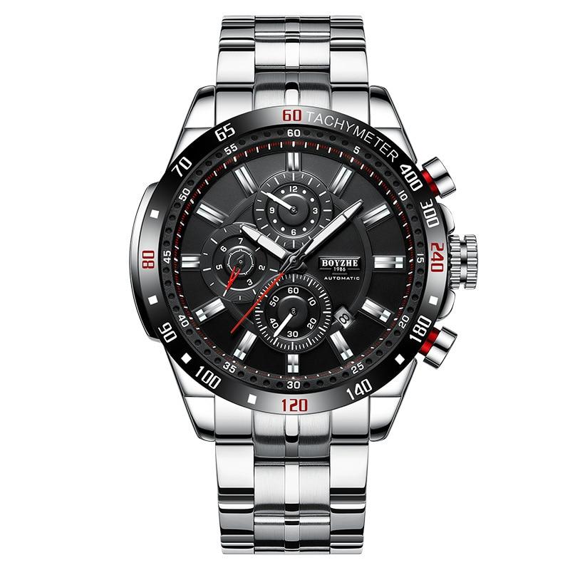 ¡Novedad de 2019! Reloj mecánico automático de moda para hombre, reloj multifunción resistente al agua para hombre, reloj con correa de acero 316, reloj de lujo