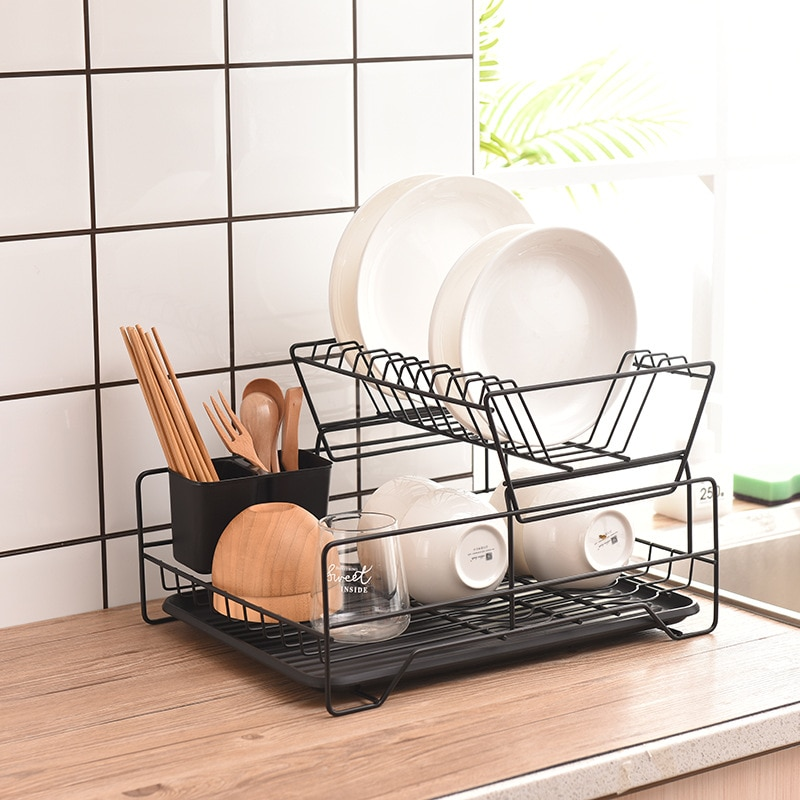 Dish Drying Rack,2-Tier Wrought iron Kitchen Dish Rack for Kitchen Counter Tableware Organizer Space Saver