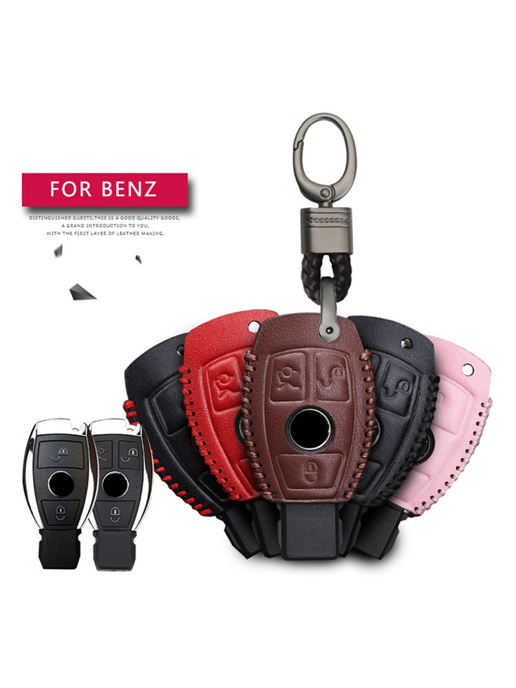 Leather Car Key Cover Case For Mercedes-Benz W205 W212 X253 W166 X204 X166 W176 W246 W204 W222 W463 X156 Key Holder Accessories