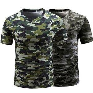 Man V Lead Camouflage Thin Section Jacket Man Short tshirts Sleeve t-shirts men T shirts Shirt Leisure Time Camouflage 3009 15