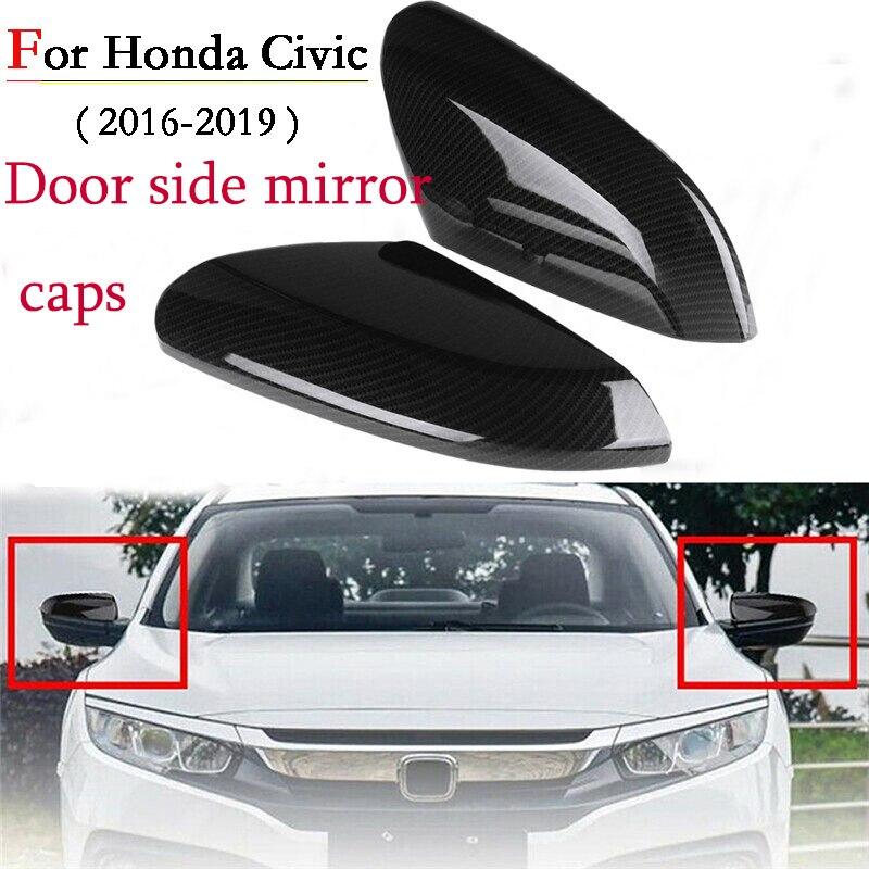 2 uds, estilo de fibra de carbono ABS, vista trasera, puerta lateral, espejo, cubierta trasera, tapas de retrovisor para Honda para Civic 2016-2018