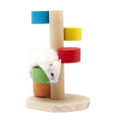 Juguete de hámster, escalera de escalada para saltar de madera, rata mascota, juguete de escala para hámster
