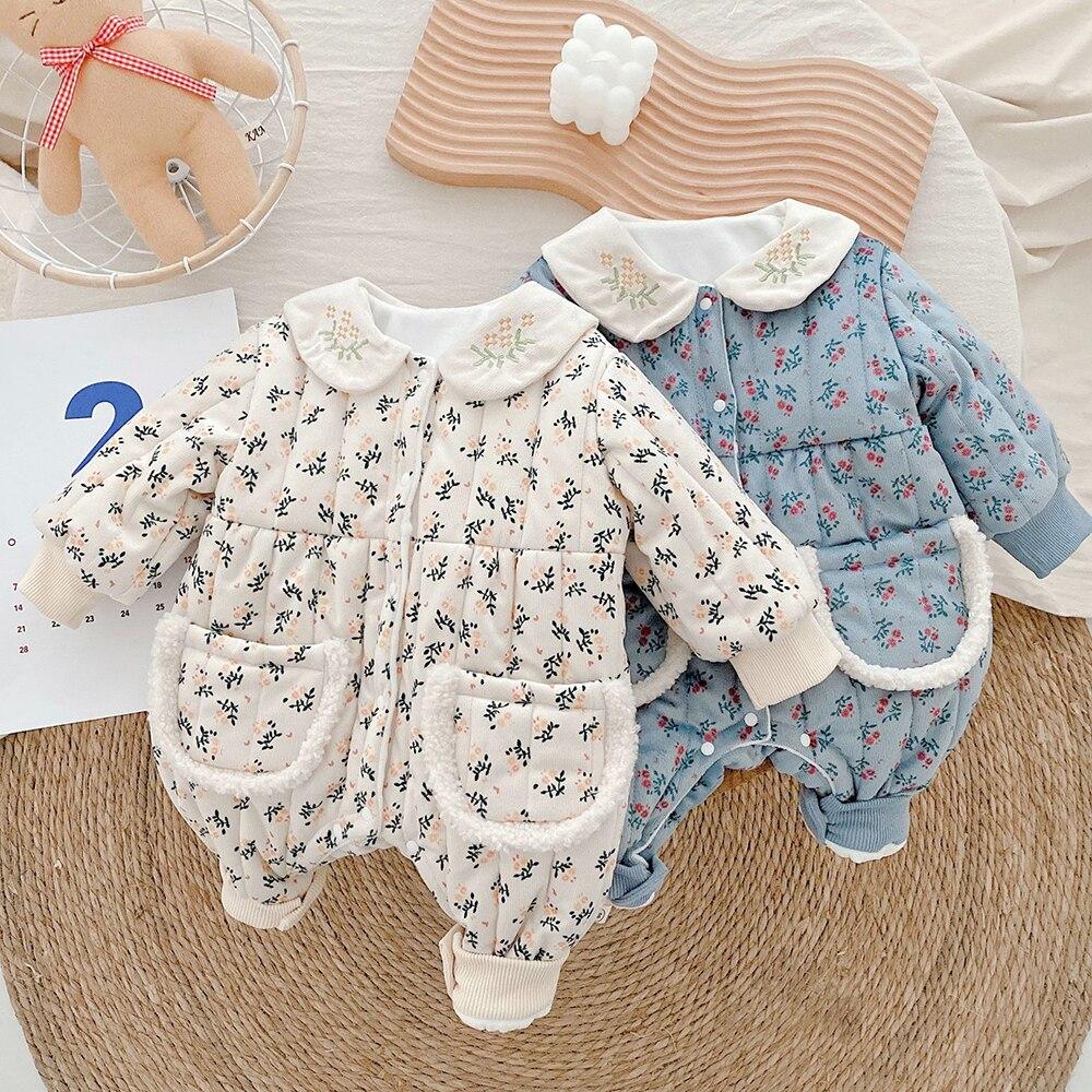 Боди с цветочной вышивкой для маленьких девочек, одежда для новорожденных, утепленная сиамская хлопковая куртка, зимняя верхняя одежда для ... верхняя одежда uki kids куртка утепленная для девочки меланж