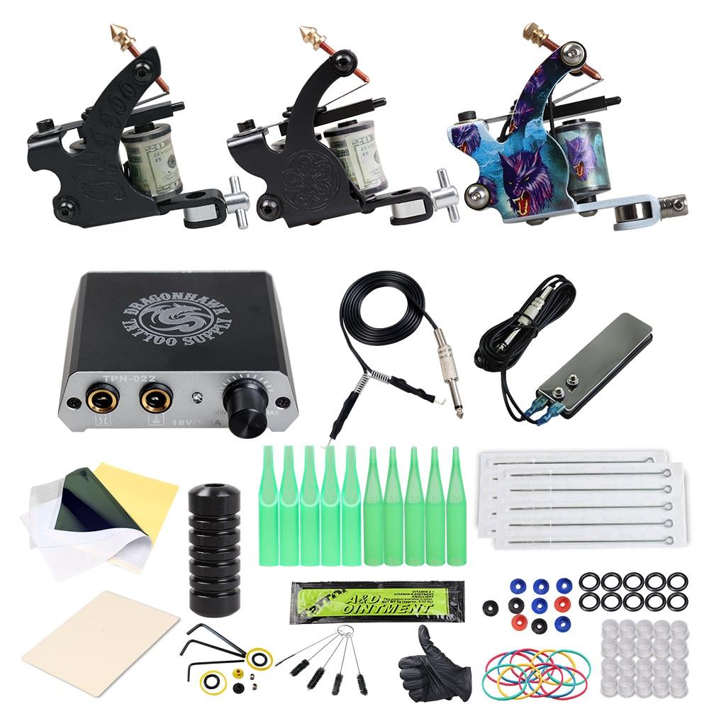 المبتدئين مجموعة كاملة الوشم 2 آلات بندقية مجموعة امدادات الطاقة السيطرة أدوات الرسم الجسم مجموعة تجميل دائم الوشم
