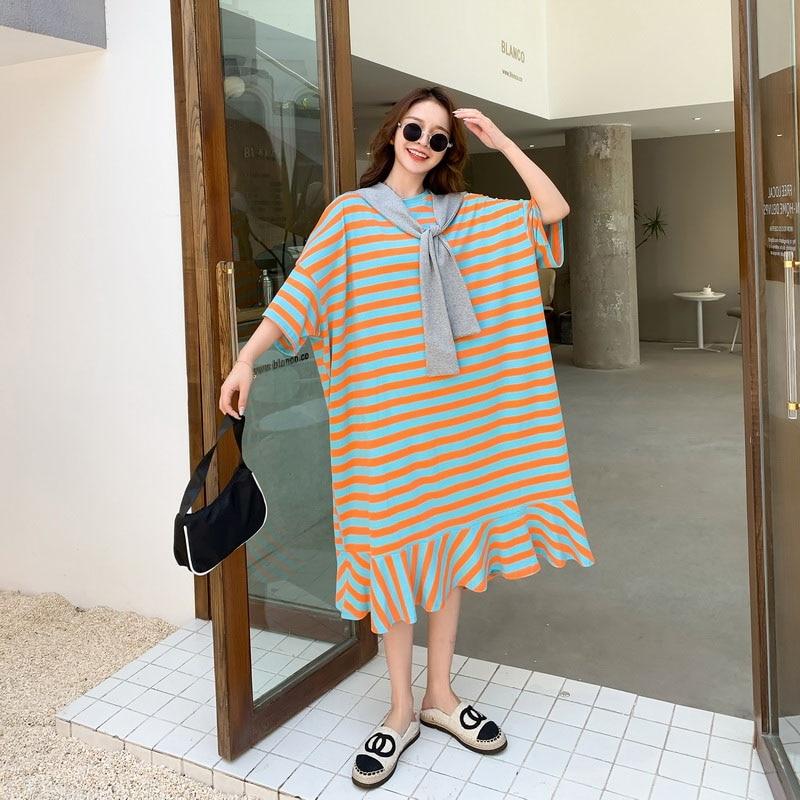 Oversized Summer Women'S Striped T-Shirt Dress 2020 Korean Cotton New Arrival Loose Long Dresses Female Plus Size 4XL 5XL 6XL