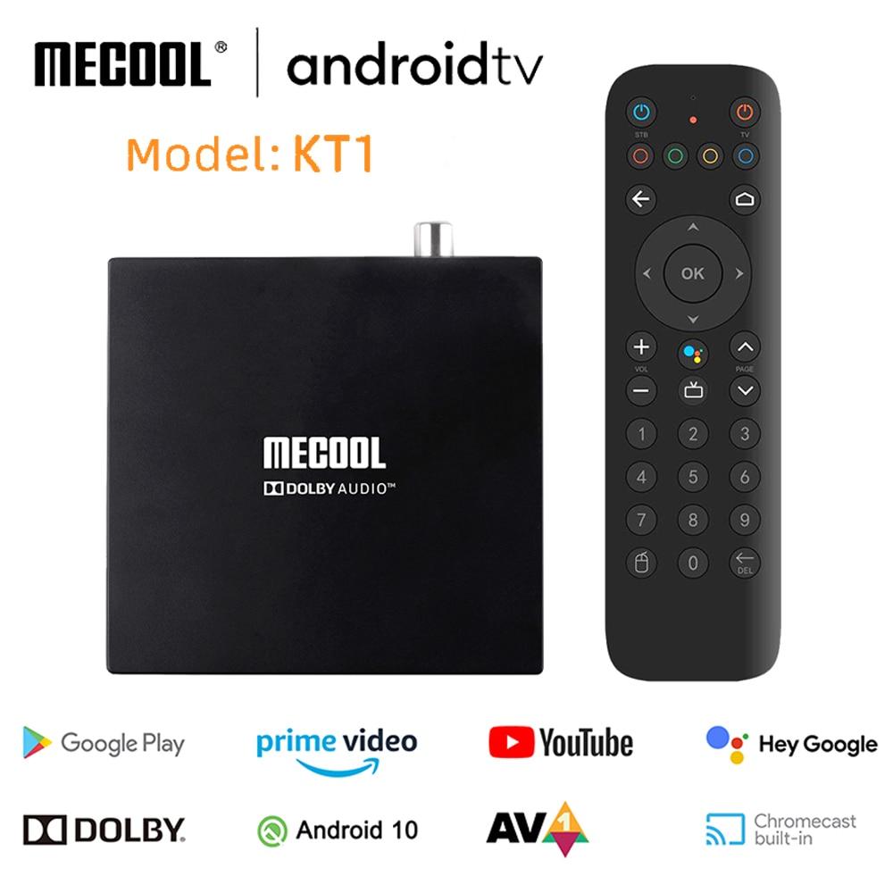 MECOOL KT1 DVB-T2 Amlogic S905X4 أندرويد TV 10 DVB مجموعة صندوق علوي 2GB 16GB AV1 BT 4.2 واي فاي 2.4G 5G LAN Dolby جوجل فك صندوق التلفزيون