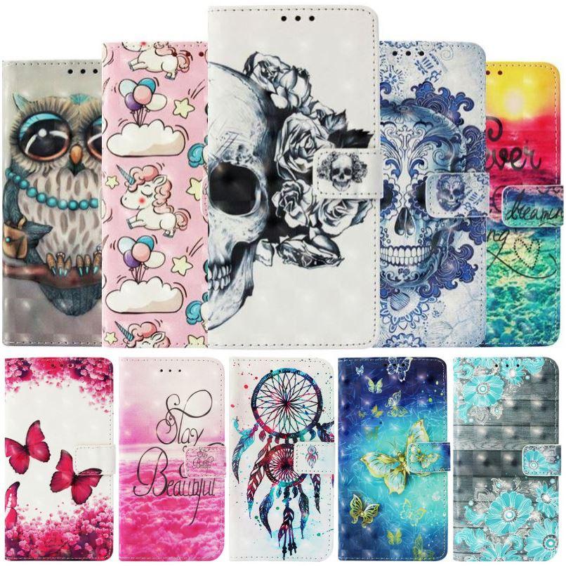 Funda monedero de bolsillo para tarjetas para Apple iPhone X Xs Xr 11 Pro Max 8 7 6 6S Plus, funda de móvil pintada de poni mariposa campanas fantasma E03Z