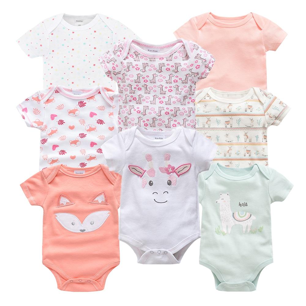 8PCS/lot Baby Girl Romper Cotton Short Sleeve Fashion Summer Cute Cartoon Boy Clothes Roupa de bebe O-Neck Kids Unisex Jumpsuits