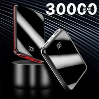 30000mah mini power bank with dual usb power display full mirror dual battery charger for iphone 12pro huawei