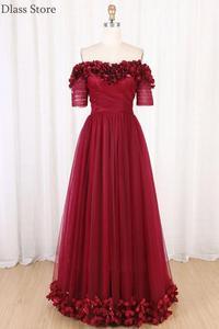 Wine Red Evening Dresses A-line Floor Length Off Shoulder Sweetheart Neck Short Sleeves Flower Prom Dress коктейльные платья