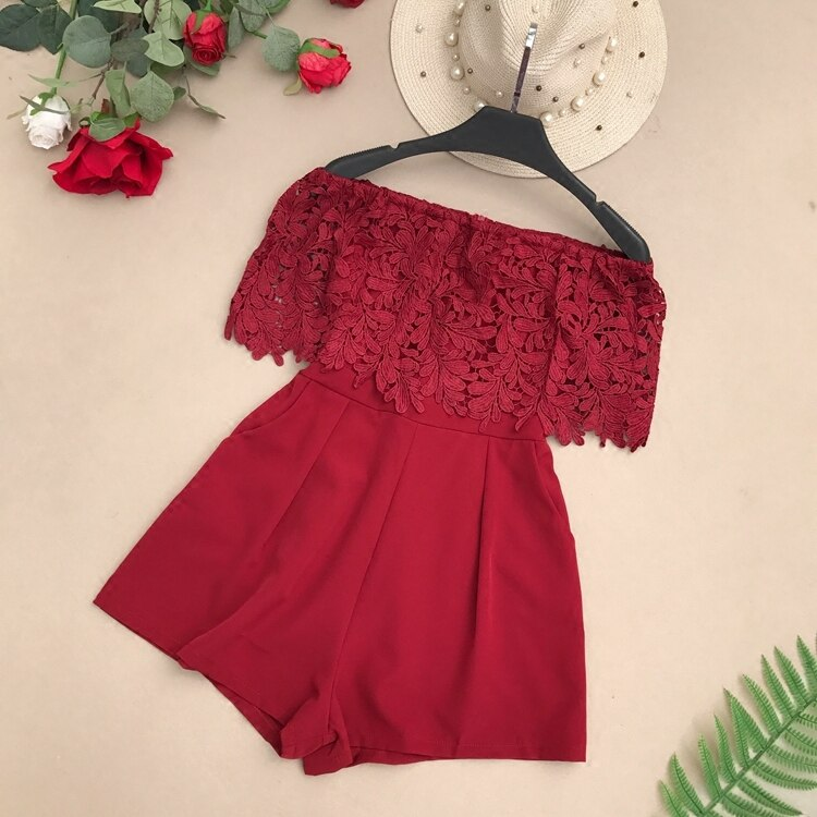 One piece pants summer women 2018 new Korean one line off shoulder Lace Panel dress High Waist Wide Leg Pants trend