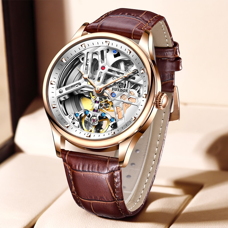 2021 New Sapphire Automatic Mechanical Men Watches Luxury Hollow 100M Waterproof Sport Clock Leather Wristwatch For Men Gift+Box