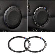 Cubiertas para altavoz de fibra de carbono anillos decorativos adhesivos para BMW E90 E84 3 Series 08-12X1 Refit 320i 325i
