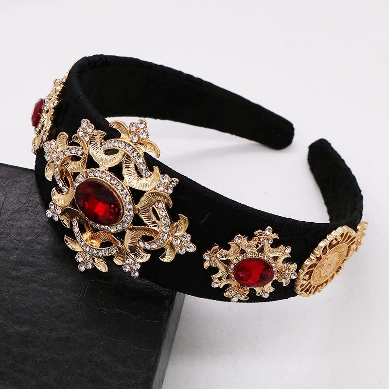Diadema barroca Vintage de lujo corona de cristal rojo strass flor diademas pelo ancho boda accesorios para el cabello fiesta regalo