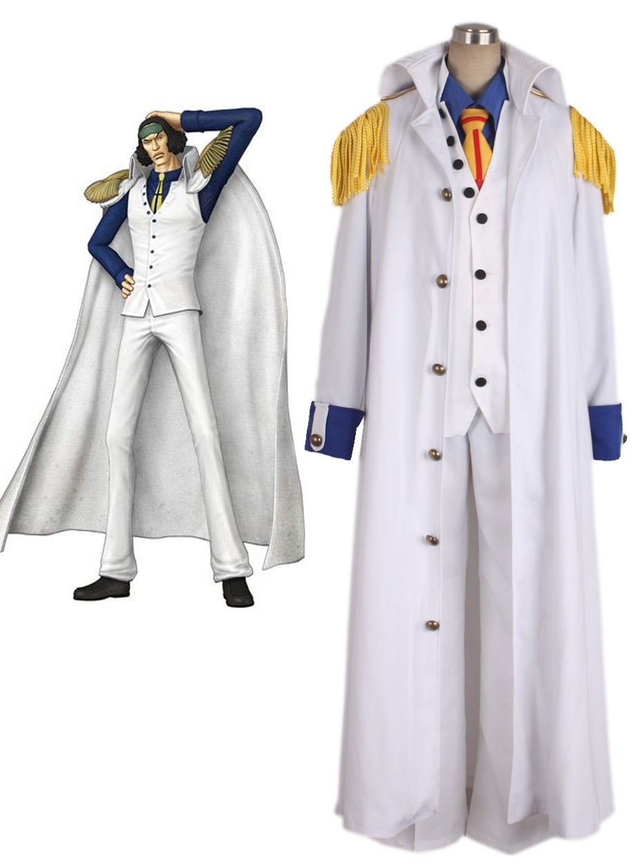 Uma peça aokiji kuzan marinha almirante uniforme cosplay traje