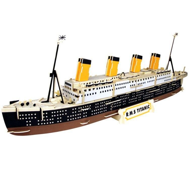 Modelo de barco de madera 3D para niños, bloques DIY Montessori, juguete Titanic de montaje de madera para niños, modelo de simulación de Barco Pirata antiguo