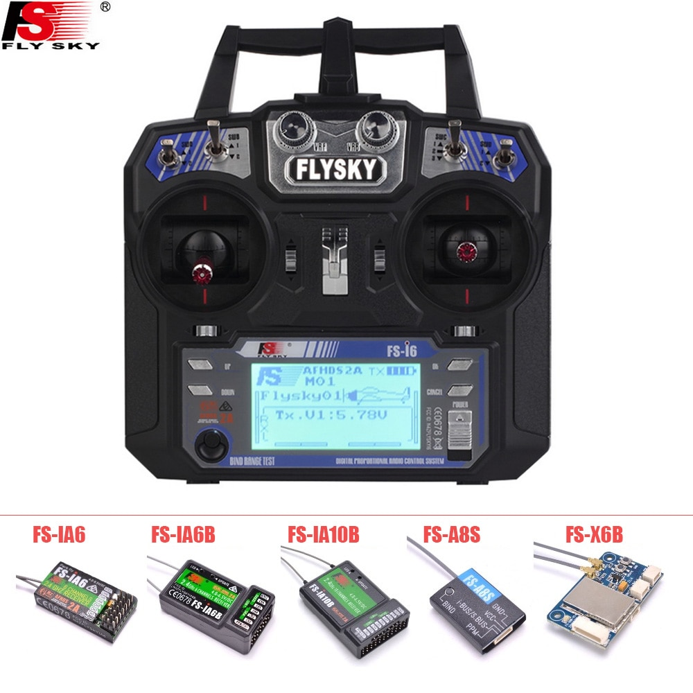 FLYSKY FS-i6 i6 2.4G 6CH AFHDS Transmitter With iA6B X6B A8S R6B iA10B RX2A Receiver Radio Controlle