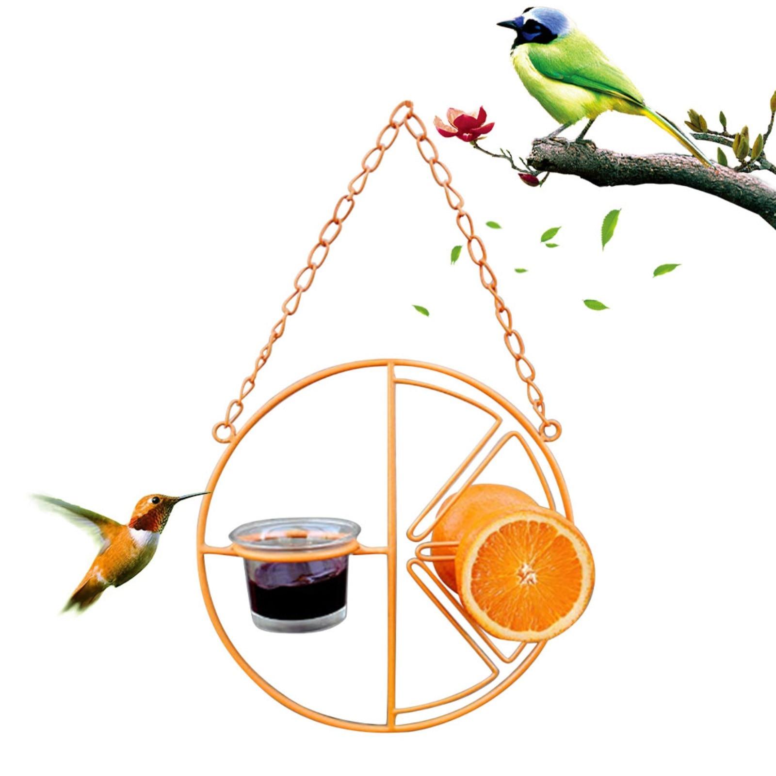 Oriole Bird Feeder Orange Fruit Outdoor Garden Metal Hanging Drinking Grape Jelly Container Farm Hummingbird Automatic Portable