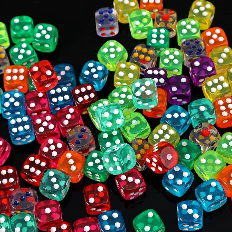 Dados 10 uds/lote de 16mm juego de dados 10 colores acrílico transparente de alta calidad 6 lados dados para juegos de Club/fiesta/familia