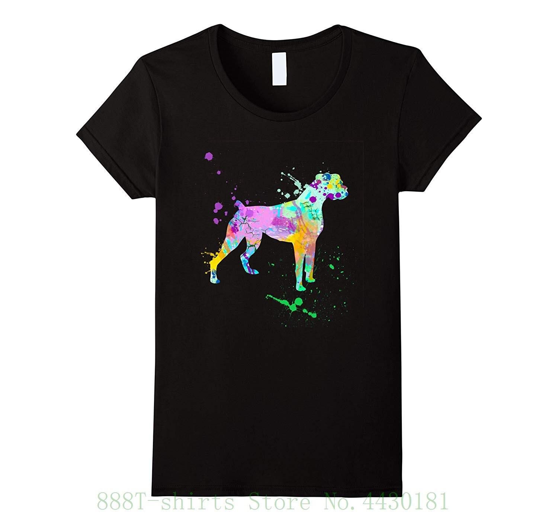 Camiseta Boxer para mujer, Camiseta con estampado de acuarela de perro y amor, camiseta Splat, marca Harajuku, Tops Hiphop