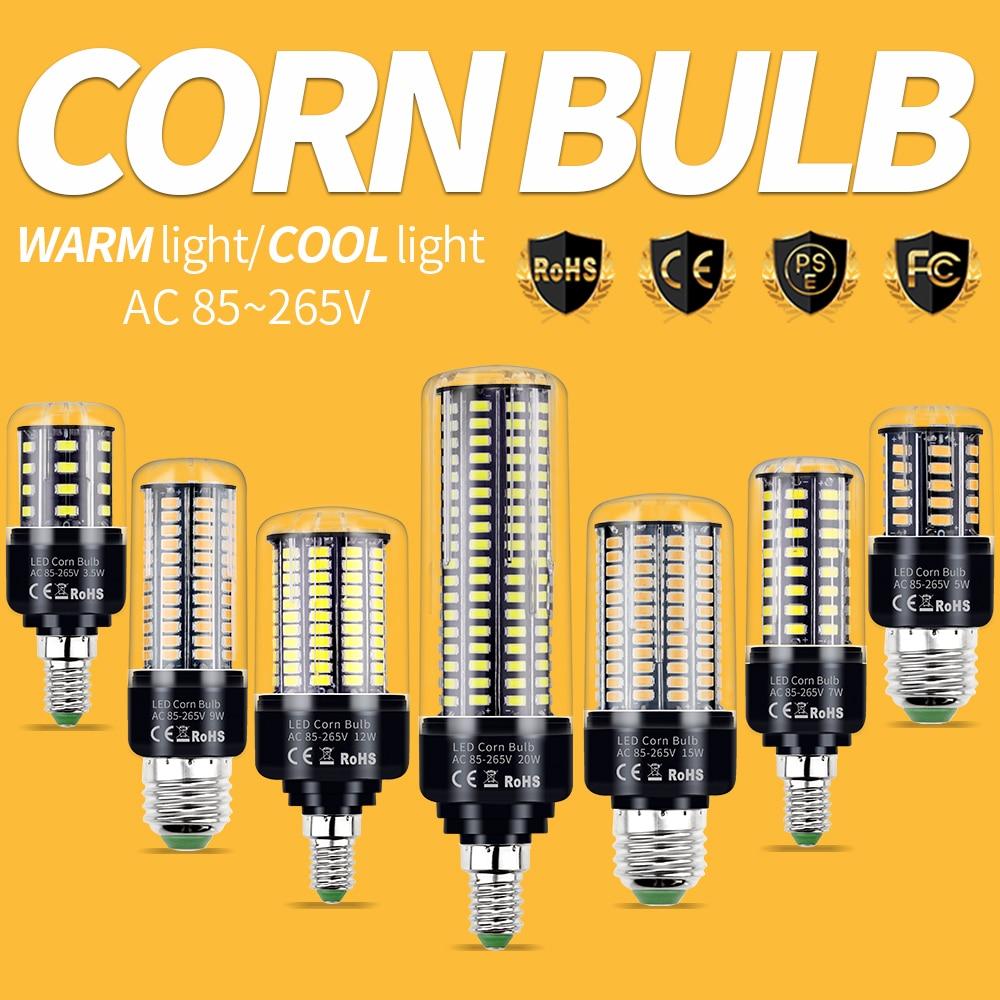 E27 LED Lamp Corn Bulb 220V Candle Light E14 Chandelier Lighting Lampara 110V 3W 5W 7W 9W 12W 15W Energy Saving Bombilla