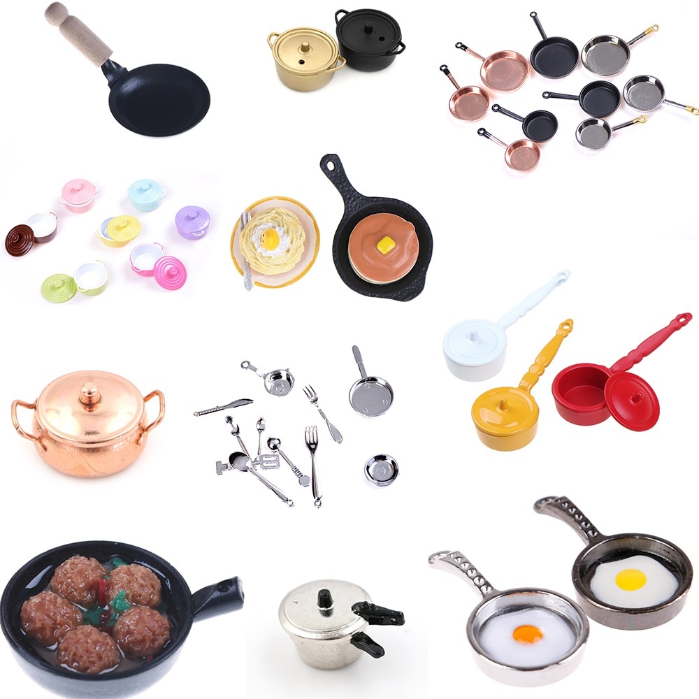 Multi estilos panela frigideira panela de bolo de café panela panela de cobre com tampa panela de arroz boneca simulação 1/12 dollhouse cozinha brinquedos