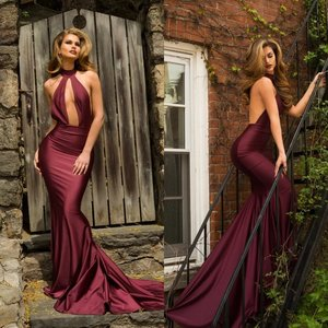 2020 Burgundy Backless Special Occasion Dresses Satin Halter Mermaid Evening Dress Custom Made Sexy Prom Gowns
