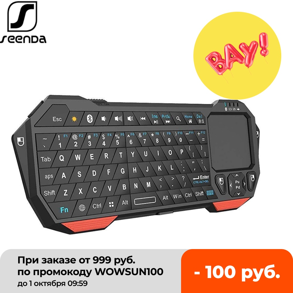 SeenDa-لوحة مفاتيح بلوتوث صغيرة مع لوحة اللمس ، لجهاز عرض التلفزيون الذكي ، متوافق مع Android و iOS و Windows