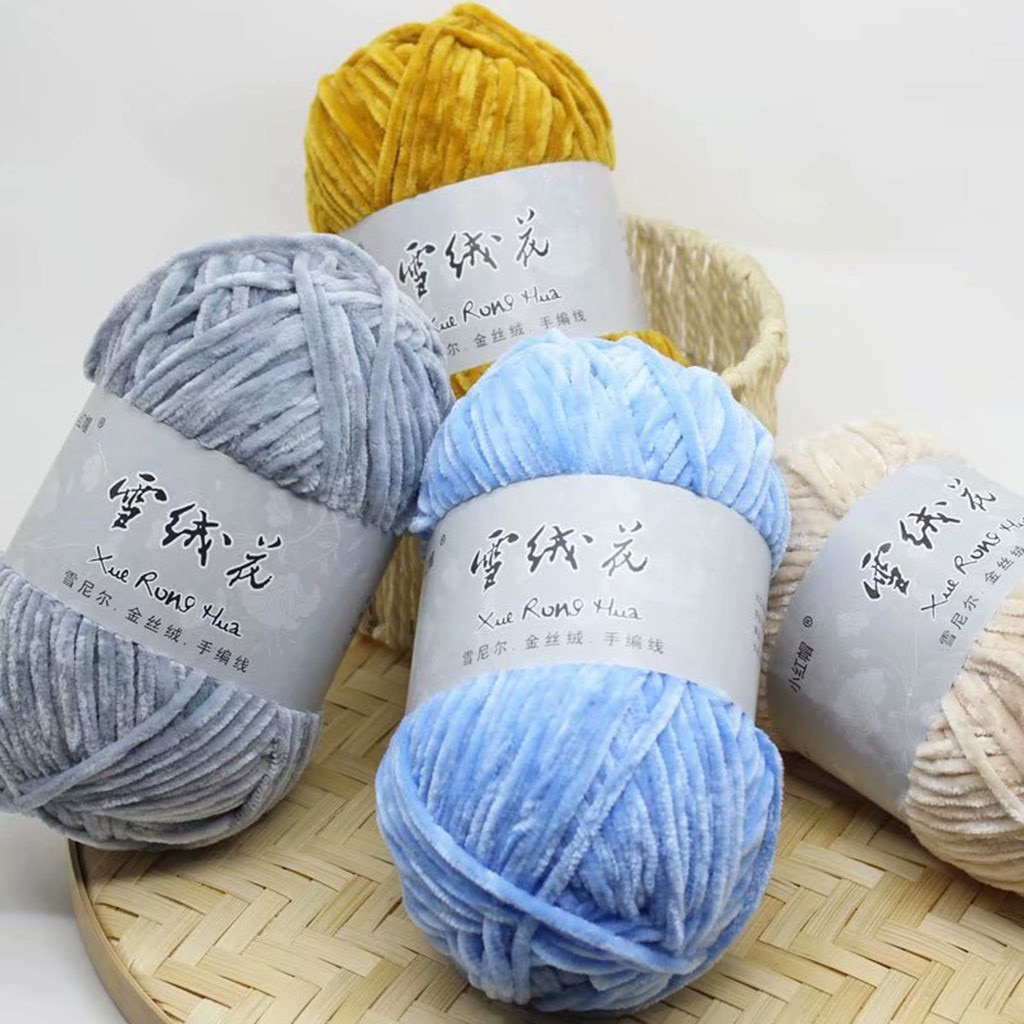 Wool Yarn Gold Velvet Chenille Medium Thick Wool Thread Diy Crochet Sweater Scarf Medium Thick Wool Line Sweater Line #N