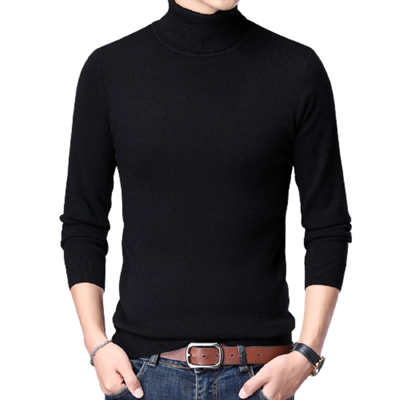 Turtleneck sweater Men Slim Fit Knitted Pullovers Mens Autumn Winter long sleeve Solid Casual Male Sweaters Knitwear