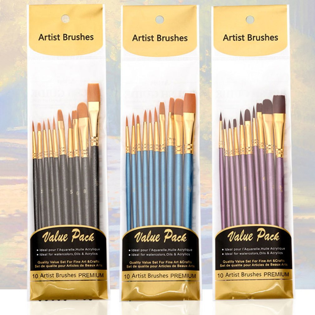 Artist Nylon Paint Brush Professional Watercolor Acrylic Wooden Handle Painting Brushes Art Supplies Stationery 10 pcs