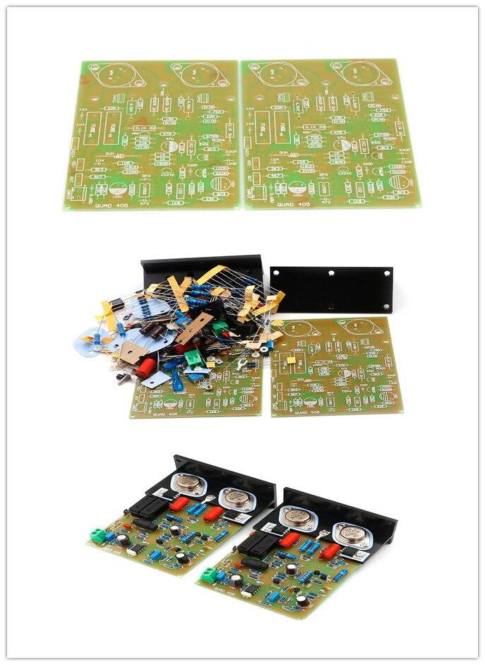 Placa amplificadora clonada Hifi QUAD-405/Pcb/ kit MJ15024 + ángulo de aluminio (2 canales) 100W * 2 AMP