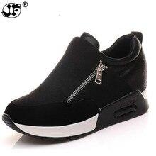 Girl slip on height increasing Vulcanized shoes woman high heels wedges hidden heel platform casual sneaker shoes fgh78
