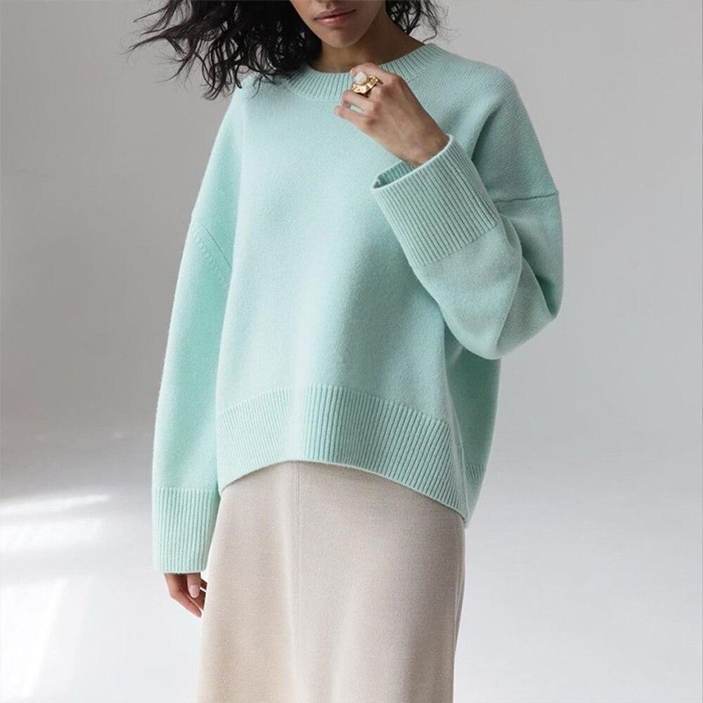 Elegant Women's Sweaters O-neck Long Sleeve Loose Soft Warm Pullover 2020 Autumn Winter High Street Knitted Sweater Jumper недорого