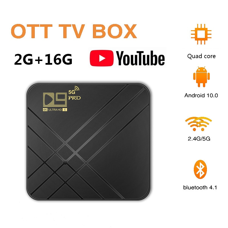 Android 10.0 TV BOX 2GB 16GB 4K Voice Assistant HD Video TV receiver Wifi 2.4G&5G Bluetooth-compatib