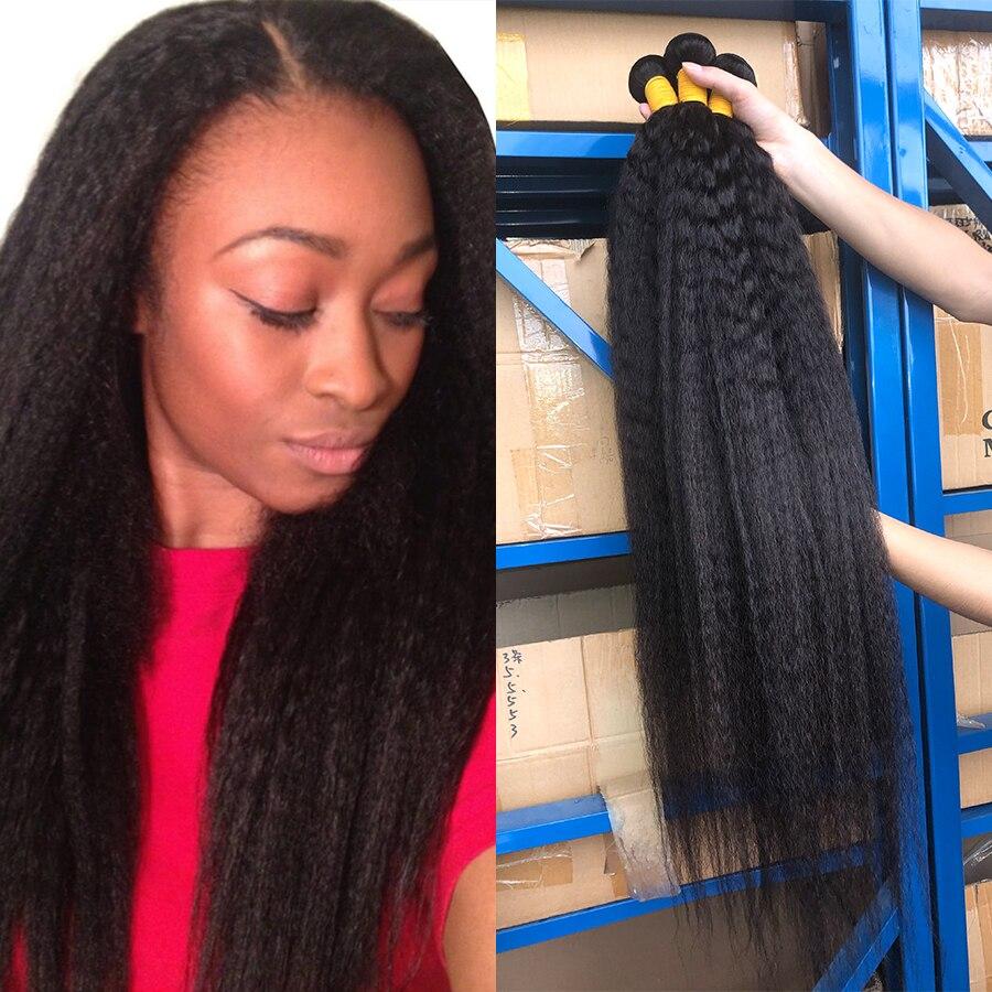 Kinky Straight Bundles 32 34 36 38 40 Inch Brazilian Hair Weave Bundles Human Hair Yaki Straight 1/3