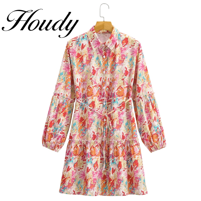 Sexy Women Vintage Totem Floral Print Bow Sashes Midi Shirt Dress Party Fashion Loose Clothes With Buttons  Autumn Style vintage floral print co ord with frill detail