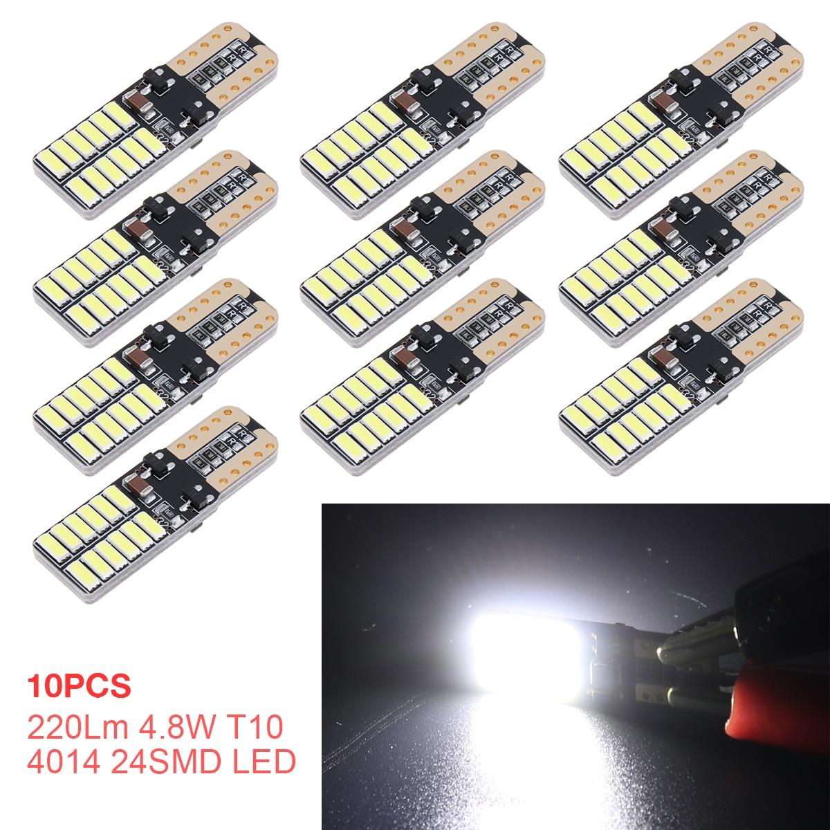 Автомобильные задние фары 10 шт./лот, 220Lm 4,8 W T10 4014 24SMD светодиоды Автомобильные Боковые Сигналы поворота, автомобильные белые лампы для чтения