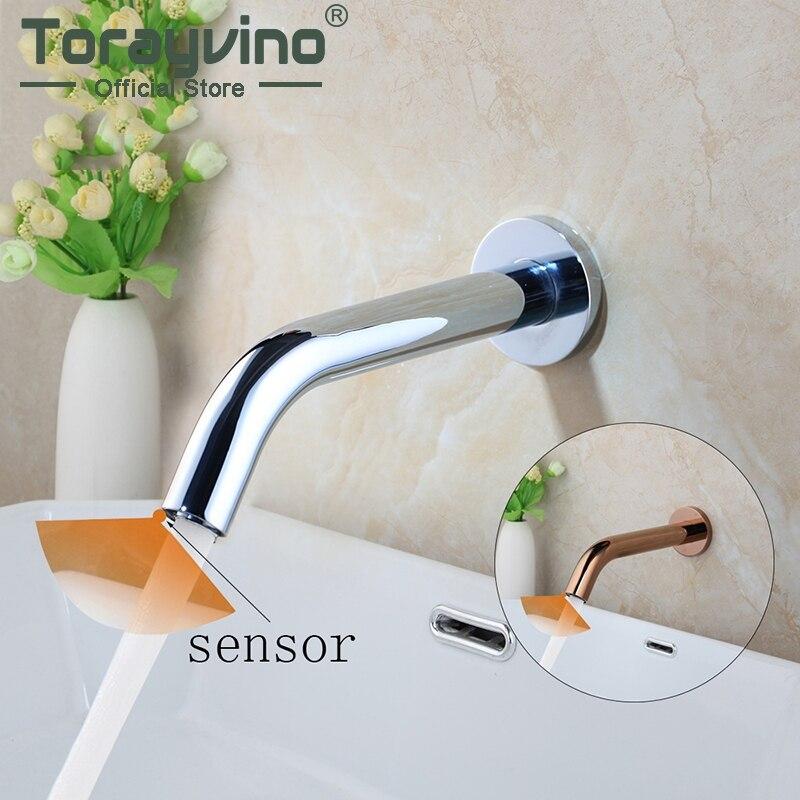 Schnell öffnen bad wasserhahn mit sensor chrom & rose gold messing tap wand montieren hot & cold mixer wasserhähne Induktion armaturen waschbecken tap