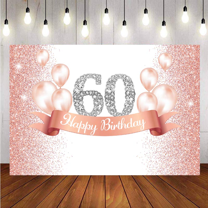 60th Backdrop Pink Balloon Rose Gold Glitter Lady Happy Birthday Party Photo Background Banner Decorations Supplies independence day firecracker birthday backdrop 4th of july first birthday party photo background cake table decorations supplies