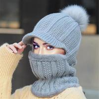 Winter Hat Skiing Knitted Balaclava Beanie Neck Warmer Mask Face Shield Hat Women Warm Full Face Cap Ball Scarf Tactical Hat