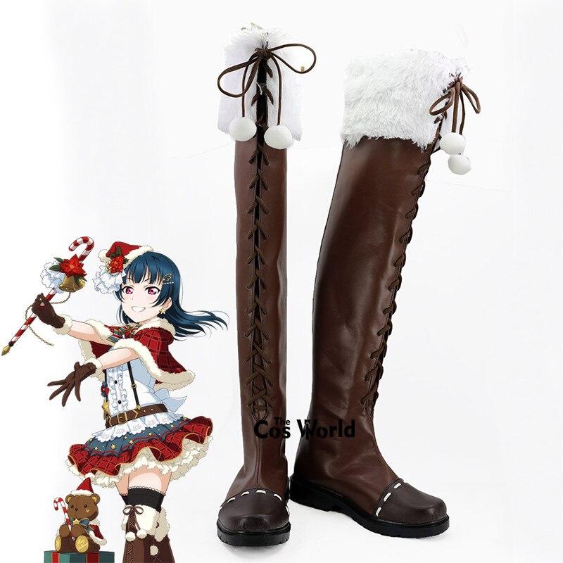 ¡LoveLive! Sol! Aqours Navidad Tsushima Yoshiko Anime personalizar Cosplay zapatos botas