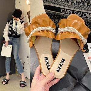 Slippers For Women 2021 Summer Modern Slippers String Bead Pearl Flat Flip Flops Sweet Open Toe Pleated Slides Sandalias Mujer