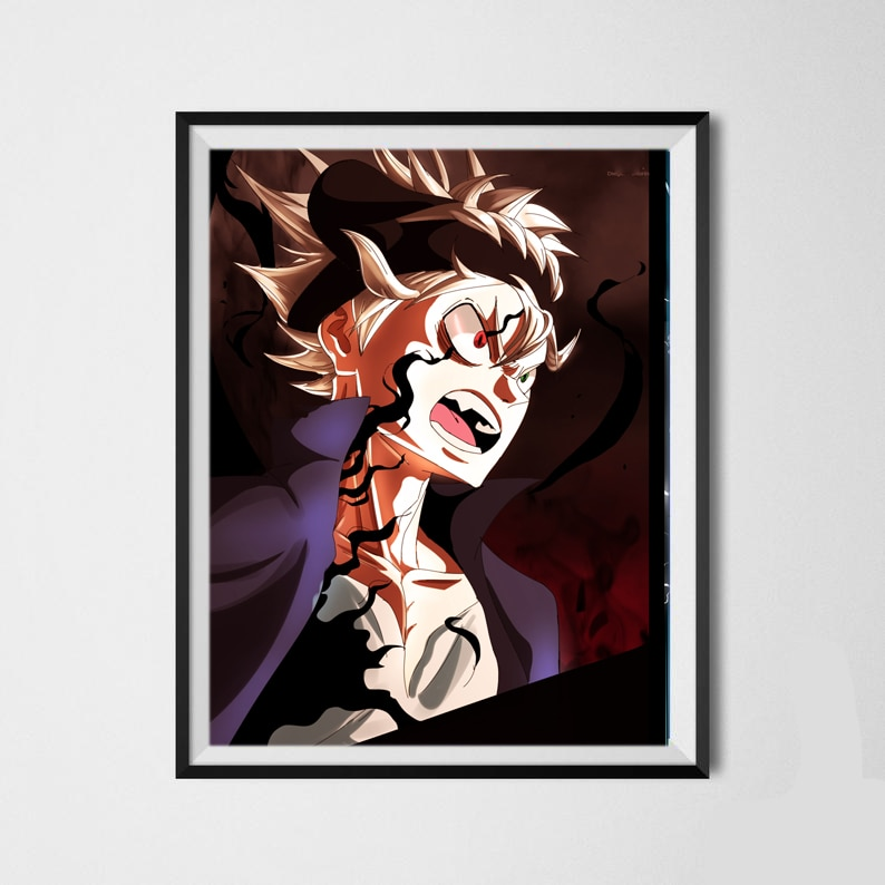 Colección de Arte en lienzo con trébol negro de Demon Lord Asta, afiches artísticos de pared para decoración de pared, 8x10 pulgadas, listo para colgar