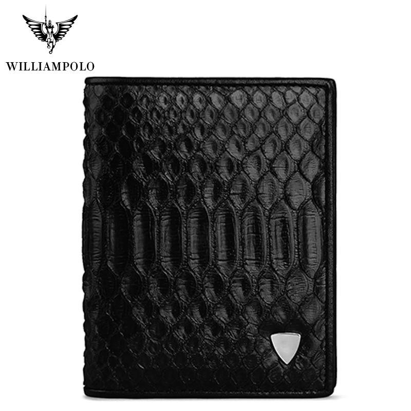 Men Wallet Short Genuine Leather Snakeskin Bifold Money Wallet Coin Case Holder Cash Pocket Python Skin Black 2020