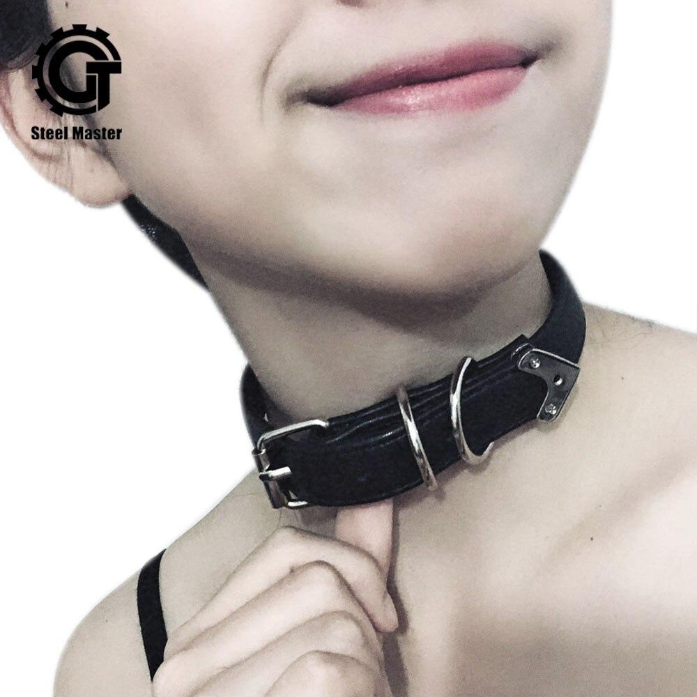 Steampunk para mujer collar, Gargantilla negra cinturón hebilla de Metal remaches accesorio de fiesta