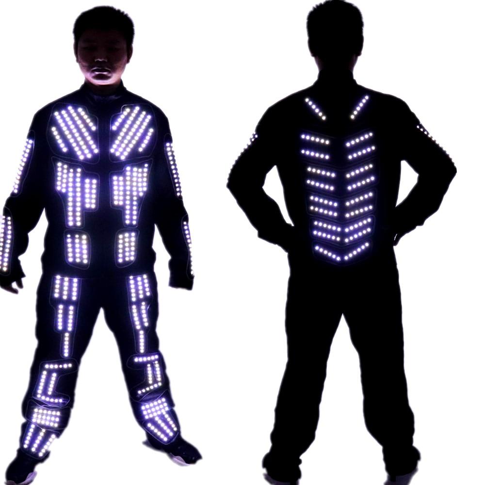 Traje con LED Tron, Traje de Robot LED, ropa LED, Traje de baile luminoso, LED de un solo Color, programa estroboscópico, Traje con LED de Control remoto